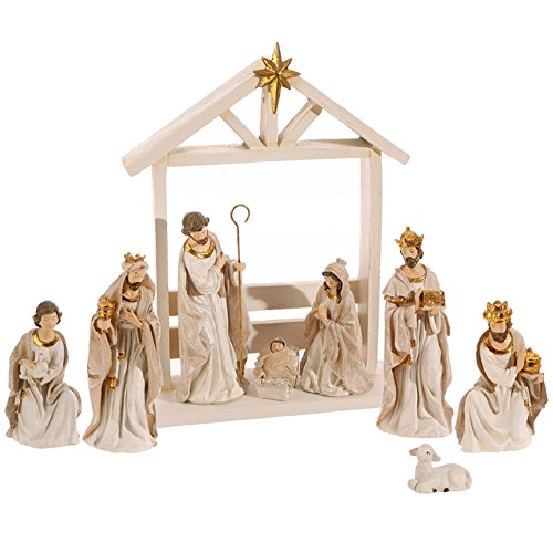 Elegant Gold and Cream Christmas Nativity Set with Wise Men, Holy Family Manger Scene, 9 Pieces, 12 Inch Tall by Raz