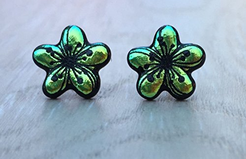 Dichroic Fused Glass Stud Earrings - Green Plumeria Flower Laser Engraved Etched Studs with Solid Sterling Silver Posts