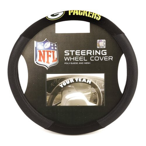 Fremont Die 98516 NFL Green Bay Packers Poly-Suede Steering Wheel - Mall Bay Green