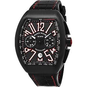 Franck Muller Vanguard Mens Black Face Automatic Chronograph Date Black Rubber Strap Swiss Watch V 45 CC DT TT NR BR ER