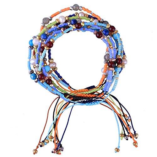 KELITCH Bohemia Tassels Friendship Bracelet Handmade Beaded Charm Bangles New Jewelry 10 PCS (10PCS Color 12) ()