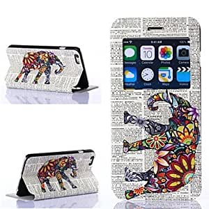 MOFY- patr—n de elefantes multicolores pu cuero cubierta del cuerpo completo para iphone 6 m‡s