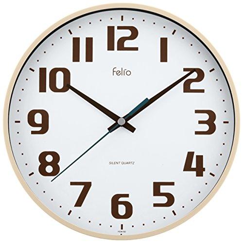 Felio 탁상시계・벽시계 아이보리 (약) 높이22.5×폭.22.5×(길이)깊이3.6cm