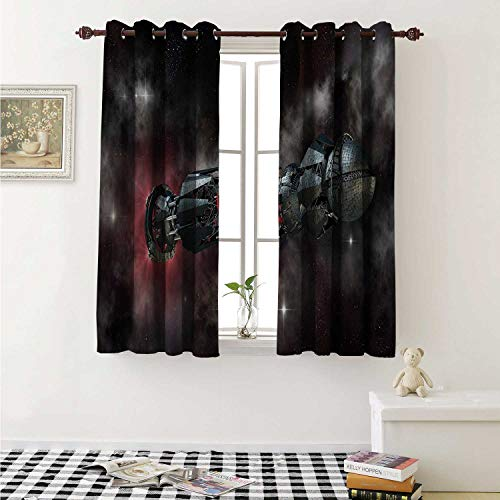 shenglv Galaxy Waterproof Window Curtain Spaceship in Interstellar Travel on a Galactic Starfield Alien Fantasy Science Fiction Curtains Living Room W55 x L45 Inch Black (Best Aliens In Science Fiction)