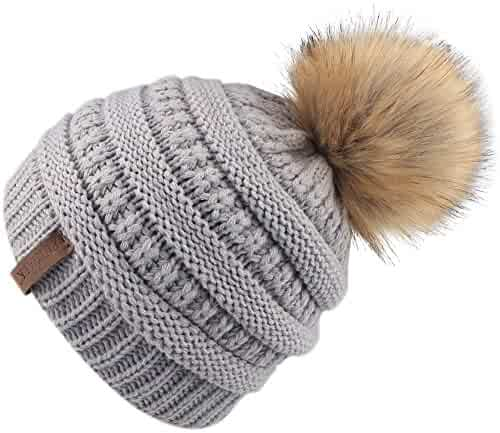 a540cf86 FURTALK Kids Girls Boys Winter Knit Beanie Hats Faux Fur Pom Pom Hat Bobble Ski  Cap