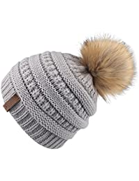 Kids Girls Boys Winter Knit Beanie Hats Faux Fur Pom Pom Hat Bobble Ski Cap  Toddler a691738dd907