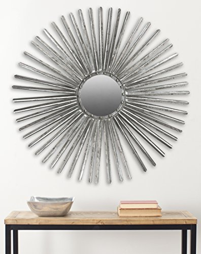 Safavieh Home Collection Silver Shanira Mirror - This mirror will add a fresh look to any room The Silver finish of this mirror will add the perfect accent to your home Crafted of iron, Wood, and glass - bathroom-mirrors, bathroom-accessories, bathroom - 51mPnKFsyYL -
