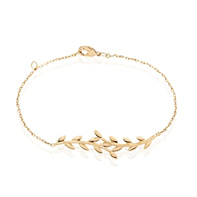 Bijou - bracelet pour femme en plaqué or motif branche fleuris