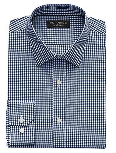 - Banana Republic Mens Slim-Fit Non-Iron Yarn Dye Shirt, Deep Navy Mini Ginham Plaid (Medium)