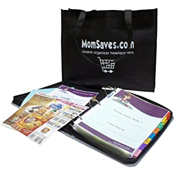 "MomSaves Coupon Organizer System with 2"" Zipper Binder and Reuseable Shopping Bag (Light Blue)"