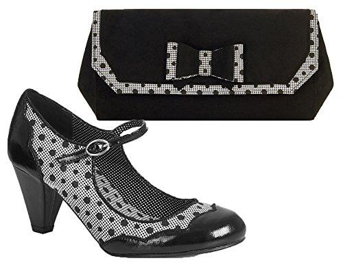 Ruby Shoo Women's Hazel Mid Heel Mary Jane Pumps & Matching Brighton Bag Black ABcdhY