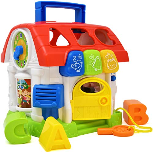 Activity Music House Toy, Cube Learning Toy-Educational for Toddlers and Kids, Learn Shapes, Sounds, Alphabet, Animals, Numbers and More-A Baby Discovery Toy with Lights and Stack and Sort Blocks