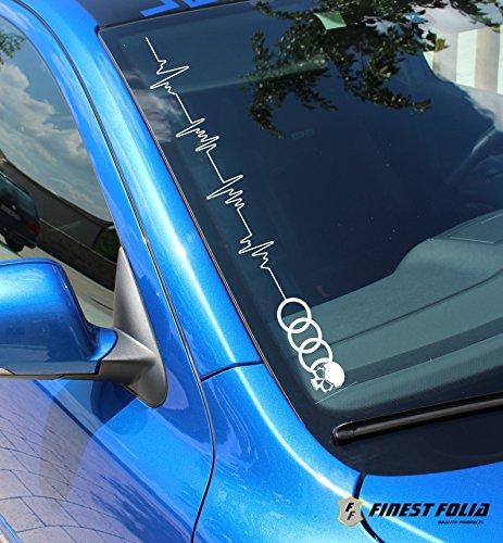 para veh/ículos Audi Adhesivo para parabrisas frontal con dise/ño de frecuencia card/íaca y calavera