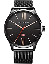 MINI FOCUS Men Fashion Business Watches with Stainless Steel Mesh Band,Waterproof 30M Watch for Male&Relatives Gift
