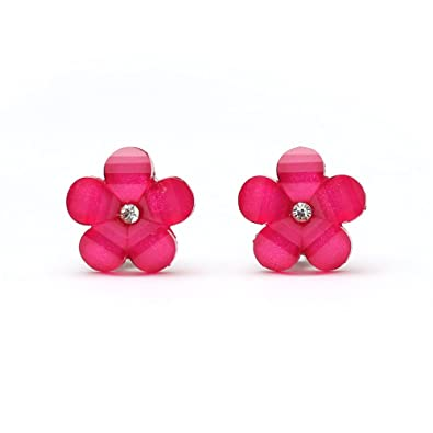 Idin Clip-on Earrings - Baby pink flower with rhinestone (approx. 16x16mm) F5n3aIipZ