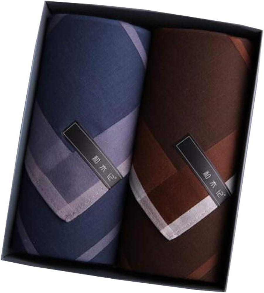 Set of 2 Mens Soft Handkerchiefs 100/% Cotton Classic Gentleman Pocket Square Handkerchief A21