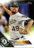 2016 Topps #330 Edward Mujica Oakland Athletics Baseball Card in Protective Screwdown Display Case