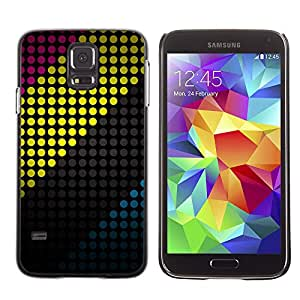 PC/Aluminum Funda Carcasa protectora para Samsung Galaxy S5 SM-G900 Dot Vibrant Yellow Lines Minimalist / JUSTGO PHONE PROTECTOR