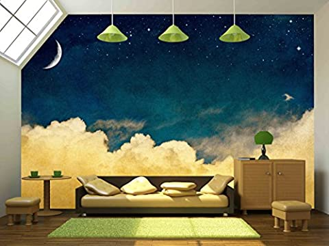 wall26 - A Fantasy Cloudscape with Stars and a Crescent Moon Overlaid with a Vintage, Textured Watercolor Paper Background. - Removable Wall Mural | Self-adhesive Large Wallpaper - 100x144 (Fantasy Mural)