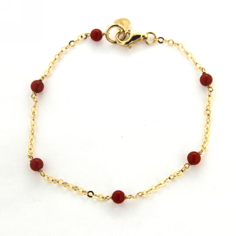 18K Yellow Gold Coral paste ball Chain Bracelet 7 inches