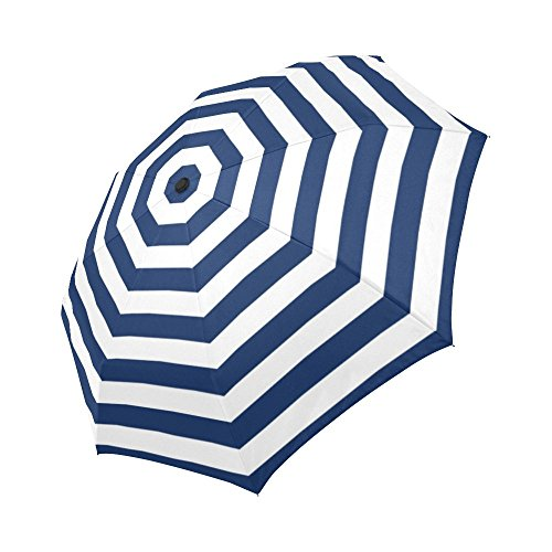 InterestPrint Abstract Striped Windproof Automatic Folding Travel Umbrella, Stripes Lightweight Compact Aoto Open and Close Umbrella with UV Protection - Blue and White (Striped Blue Umbrella)
