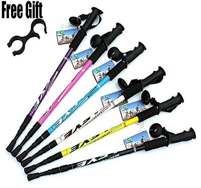 6 color Adjustable Ultralight Adjustable AntiShock Walking Sticks Telescopic Trekking Hiking Poles Walking Canes With Rubber Tips Protectors