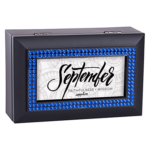 (Cottage Garden September Faithfulness Sapphire Matte Black Jewelry Music Box Plays You Light Up My)