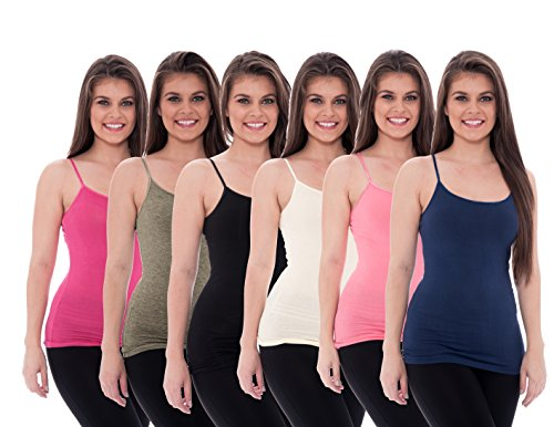 Unique Pink Coral (Unique Styles 6 Pack Women's Tanks Tops Adjustable Spaghetti Strap Cotton Cami, Black, Charcoal, Coral, Pink, Navy, White, M)