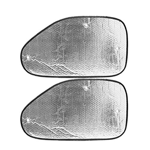 uxcell 2pcs Silver Tone Reflective Auto Car Side Window Sun Visor Shade Block Cover