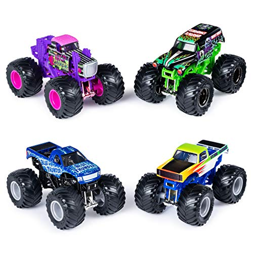 (Monster Jam Official Die-Cast 1:64 Scale Double 2 Pack (Blue Thunder, Storm Damage, Grave Digger, Wild Flower))