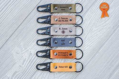 Custom Leather Keychain - Carabiner Keychain | USA | Heavy Duty | Personalized ()