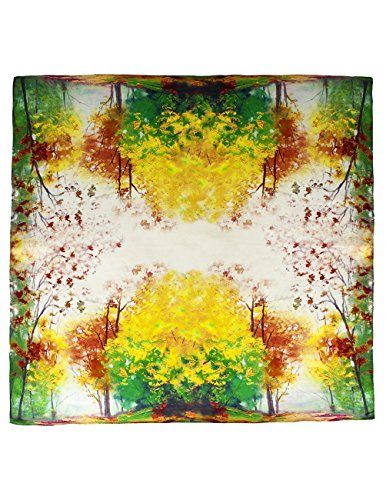 Dahlia Women's 100% Square Silk Scarf - Autumn Tree Foliage Neckerchief ()