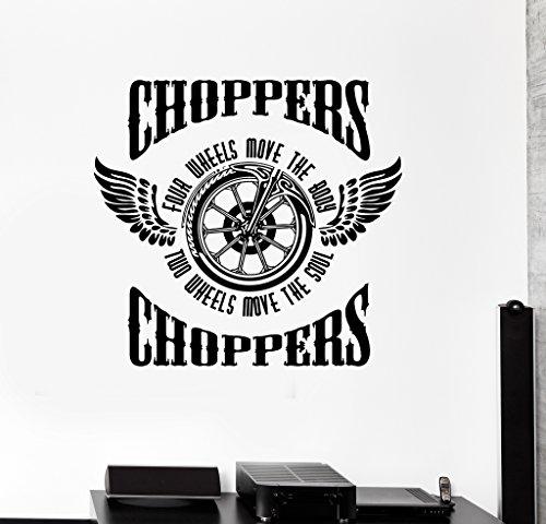 Large Wall Sticker Vinyl Decal Motorcycle Fire Bike Chopper Biker Wings Wheel (ed488) Dark Blue ()