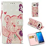 Galaxy S8 Case,Durable Pu Leather Kickstand Wallet Cover with Inner Silicone Bumper Cover Full Protective Flip Folio Shell Cover with Wrist Strap Birthday Gift Compatible Samsung Galaxy S8 -Bear