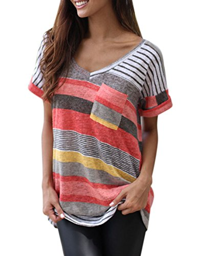 BonneXD Women's T-Shirt V-Neck Loose Striped Breathable Casual Blouse Tank Tops ()