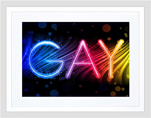 PAINTING GRAPHIC NEON SIGN GAY COLOURFUL RAINBOW FRAMED ART PRINT B12X13282 (Neon-rahmen)