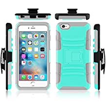 iPhone 6 case, Febe iPhone 6 Dual Layer Kickstand Case, Shockproof Hybrid Rugged Hard Soft Ultra Slim Fit Belt Clip Hostler Cover Case for iPhone 6 4.7 Inch - Teal