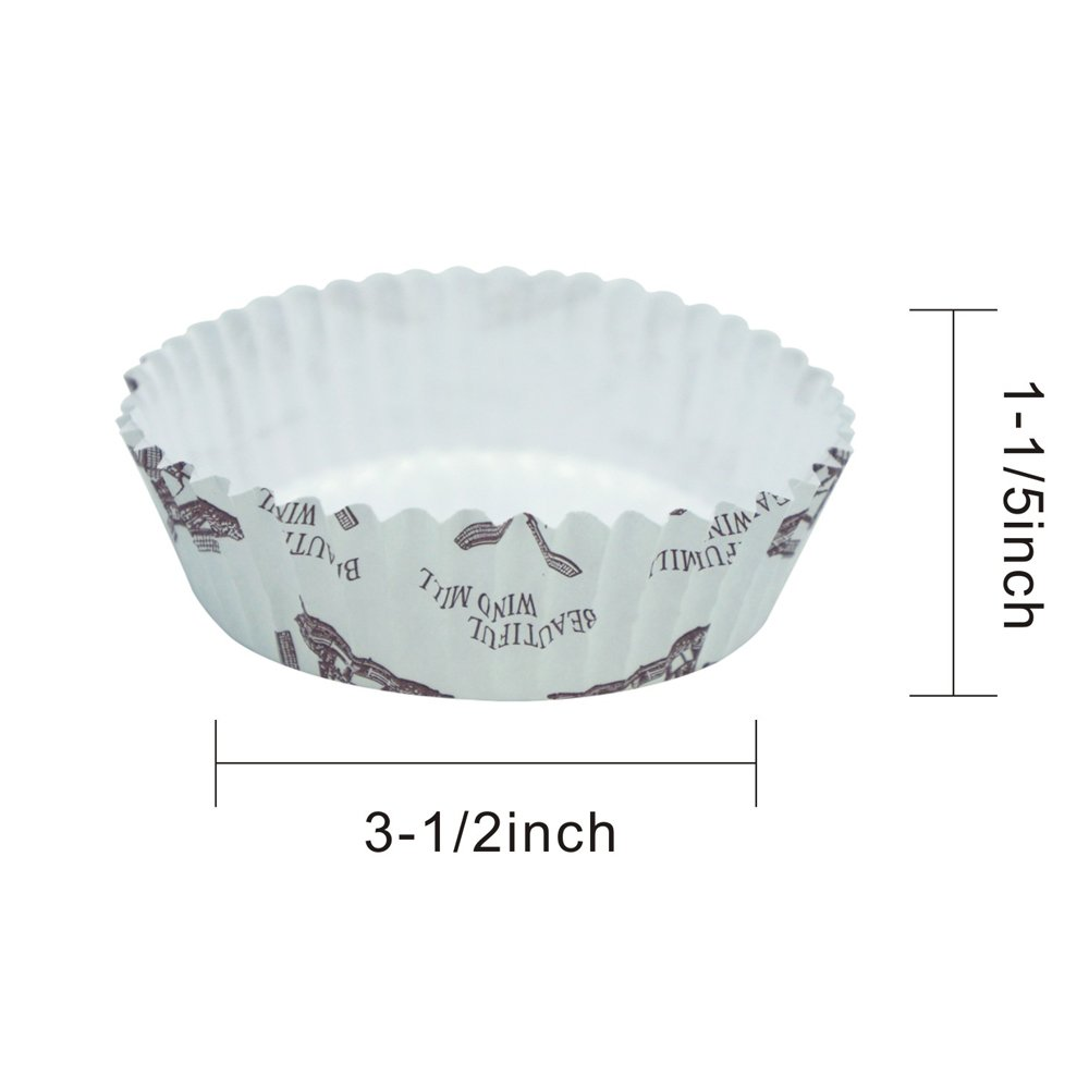 3.5 General Enlynn Disposable Ruffled Round Shape Non-Stick Paper Baking Cup Pack of 100