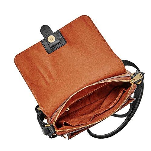 Fossil Kinley Small Crossbody Braun Schwarz Damen Handtasche Tasche Schultertasche Leder Umhänge Taschen ZB7377-994