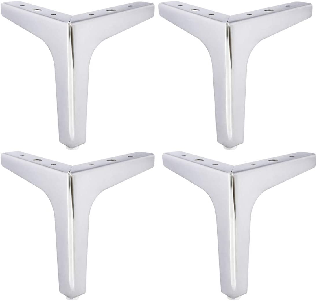 4 inch Metal Furniture Legs, Btowin 4Pcs Modern Triangle Diamond Furniture Feet for Cabinet Sofa TV Stand Bookcase