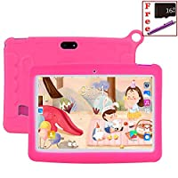 Mirzebo Kids Tablet 10.1 inch Display, Kids Mode Pre-Installed, with WiFi, Bluetooth and Games, Android 7.0 Quad Core Processor, 1280×800 IPS HD Display 【Free 16GB SD Card + Stylus Pen】 (Pink)