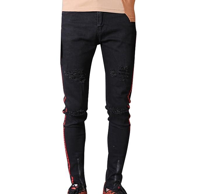 Yuanu Hombre Cómodo Transpirable Slim Lavado Straight Jeans ...