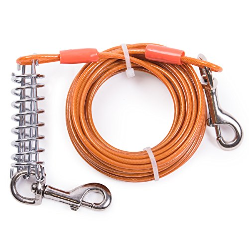 MFPS Favorite Tie Out Cable for Dogs, 30-feet, 3 Colors (Orange) ()