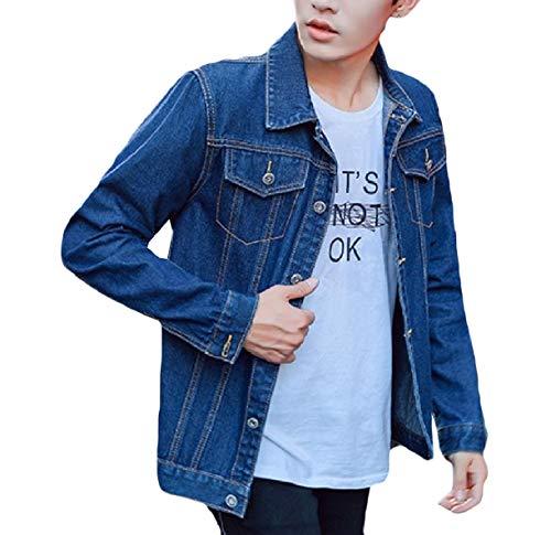 Howme-Men Classic-Fit Autumn Slim Fit Button Juniors' Cowboy Jackets Dark Blue