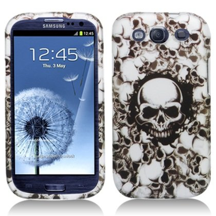 Boundle Accessory for Samsung Galaxy S III I9300 - White Skull Designer Hard Case Protector Cover + Lf Wiper + Lf Stylus Pen (Verizon, Sprint, T-Mobile, US Celluar, AT&T)
