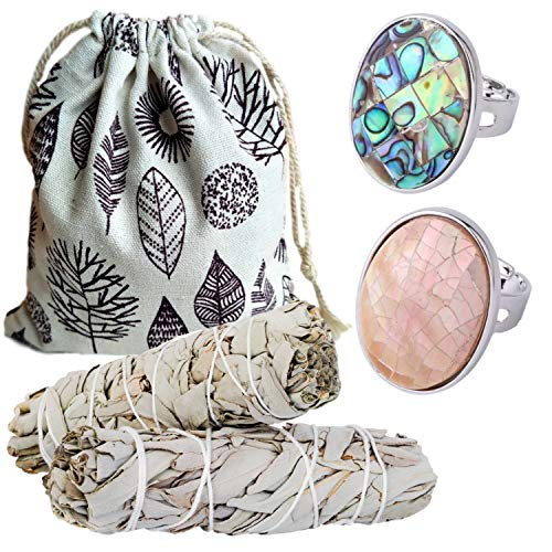 Worldly Finds Sage Smudge Sticks Smudging Kit, Abalone Ring Set, Shell Rings, Paua Shell, Adjustable, Metaphysical Gifts (Abalone and Pink Ring Set) ()
