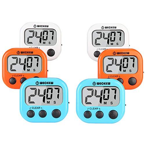 WECKER Digital Kitchen Timer, Cooking Timer, Large Display, Strong Magnet Back, Loud Alarm, Count up Countdown Timer for Kids Baking Exercise Game (6 Pack, 2White+2Orange+2Blue) ()