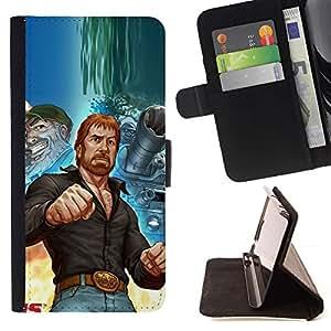 Momo Phone Case / Flip Funda de Cuero Case Cover - Hombre Tough Kung Fu Artes Marciales Tanque Urss - Samsung Galaxy A3