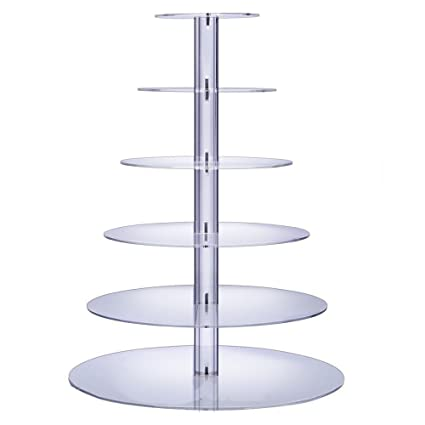 BonNoces 6 Tier Round Acrylic Cupcake Stand Dessert Display Holders Cupcake  Tree Tiered Cake Stand