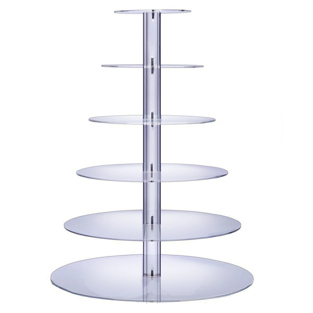 BonNoces 6-Tier Round Acrylic Cupcake Stand Dessert Display Holders Cupcake Tree Tiered Cake Stand Cupcake Tower Perfect for Weddings and Special Events